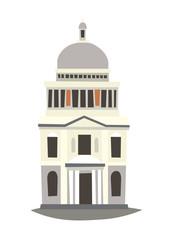 St. Paul's Cathedral vector Illustration. England landmark, London city symbol cartoon style. Isolated white background