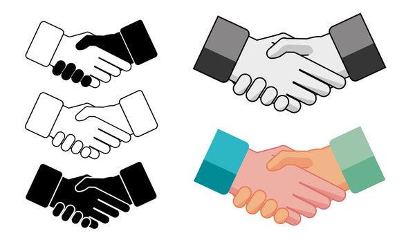 Poignée de mains - accord professionnel en version couleurs, niveau de gris et 1 couleur (flocage)