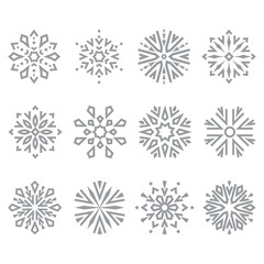 Snowflakes icon collection. Graphic vector modern grey ornament.