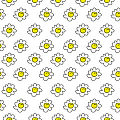 isolated floral yellow seamless chamomile drawing. vector illustration. White daisies seamless pattern on a white background.