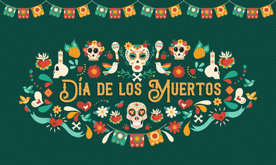 Day of the dead mexican skull art greeting card