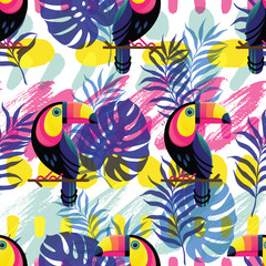 Vector seamless pattern with abstract hand drawn paint lines, blots and textures, tropical leaves and Toucan.