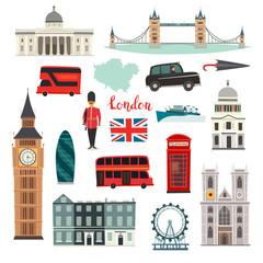 London vector illustration set. Cartoon United Kingdom icons. London tourist landmarks. Tower bridge art. London symbols red phone booth and bus. Isolated on white background