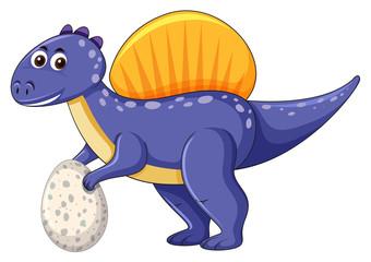A spinosaurus dinosaur holding egg