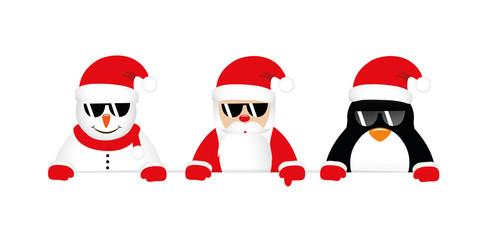 cool snowman santa and penguin cartoon with sunglasses