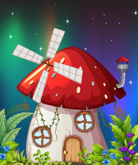A mushroom house in nature