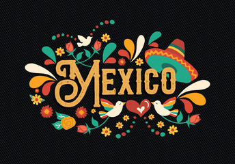 Mexico quote greeting card for mexican holiday Wall mural