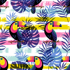 Vector illustration, seamless pattern with tropical leaves and a Toucan on a hand drawn paint background
