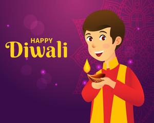 Cute carton indian boy holding diya (india oil lamp) and wishing everyone a happy diwali festival of lights
