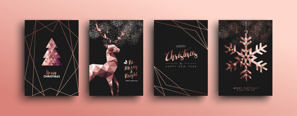 Merry Christmas pink copper deer card collection