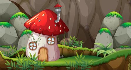 Mushroom house in nature