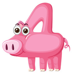 Cute pig number four character