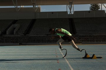 Disabled athletic running on a running track