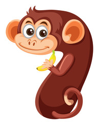 Cute monkey number seven character