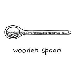 Wooden spoon, hand drawn doodle sketch, black and white vector illustration