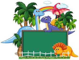 Dinosaur with calkboard banner