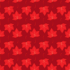 Maple leaves seamless vector bright red art background