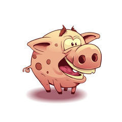 Cute pig cartoon. Isolated on white. Vector illustration, eps 10.