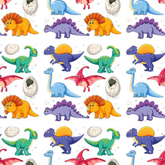 A dinosaur on seamless pattern