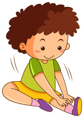 A boy stretching exercises