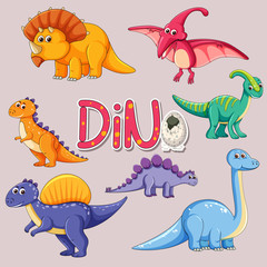 Set of dinosaur sticker