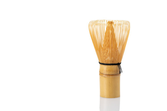 matcha tea bamboo whisk isolated on white