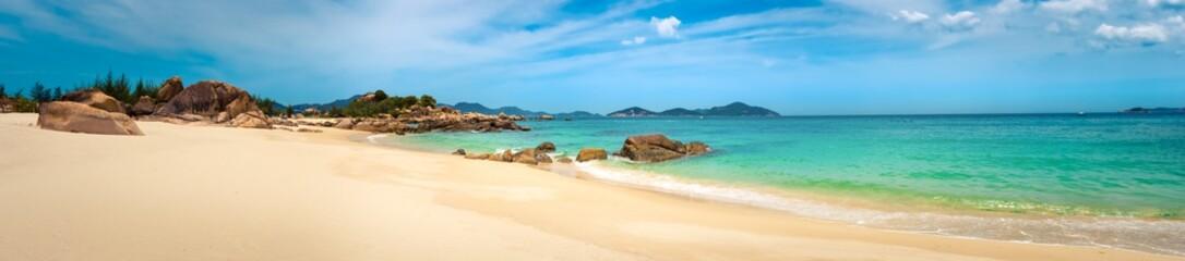 Wall Mural - White sand beach. Vietnam. Panorama