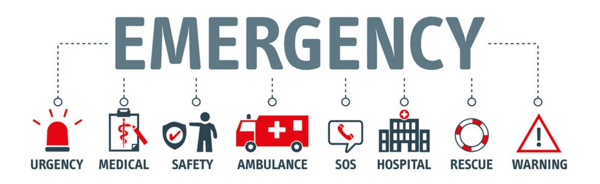 banner emergency vector design concept