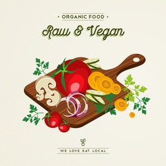 Raw and vegan food concept for healthy eating