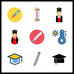 degree icon. thermometer and graduated boy vector icons in degree set. Use this illustration for degree works.