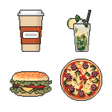 Set of fast food pixel art on white background. Vector illustration.