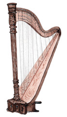 Watercolor musical strings instrument, harp isolated on white background