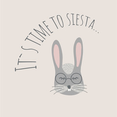 Vector Illustartion with cute animal on black background. Funny bunny. Retro style.It`s time to siesta phrase. Perfect fo kids cards, posters, book illustration and other design projects. EPS10