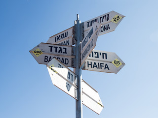 Directions  sign on Mount Bental on the border between Israel and Syria