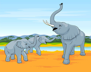 The family of elephants walks in savanna. Big elephant with two small elephants.