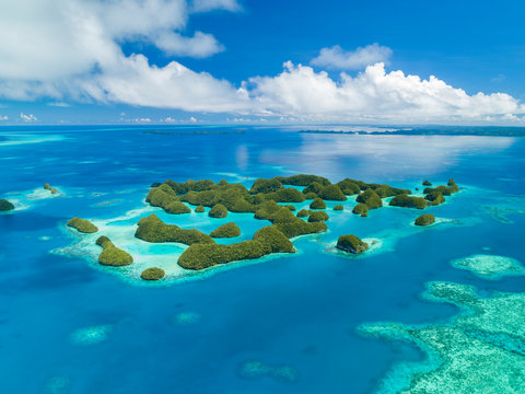 Aerial view of Palau 70 islands