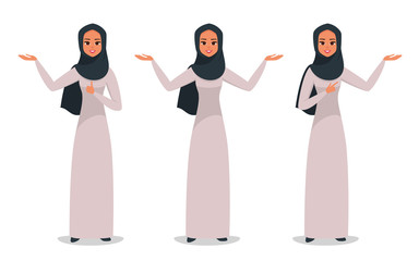 Young Arabic business woman wearing hijab presenting something with two hands.set of arab girl in various poses: wide-open arms, welcoming posture, demonstrates something. vector illustration