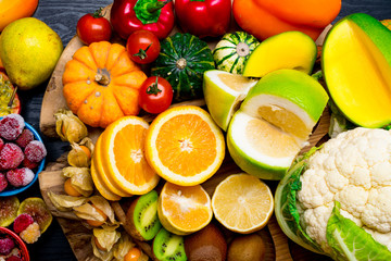 Foods High in vitamin C background Healthy eating.