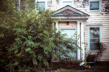 Exterior facade on abandoned foreclosed home