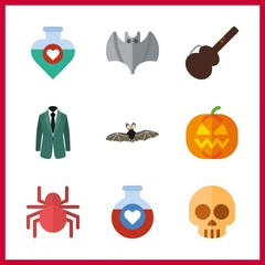 9 halloween icon. Vector illustration halloween set. pumpkin and costume icons for halloween works