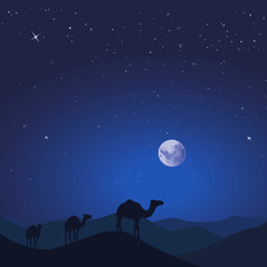 Camel caravan in wild desert mountain nature landscape. Vector illustration