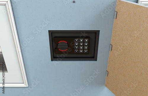 Hidden Wall Safe Behind Picture Stock Photo And Royalty Free Images