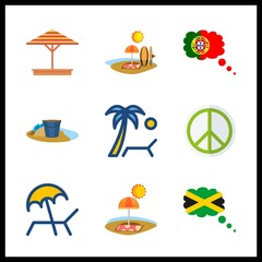 shore icons set. design, cliff, girl and seascape graphic works