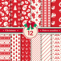 Türaufkleber Künstlich Merry Christmas pattern seamless collection. Set of 12 X-mas winter holiday background in red and white colors. Vector illustration.