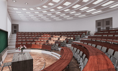 Interior of a Lecture Room 3d rendering