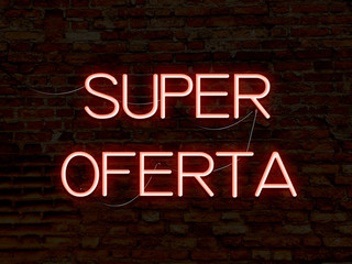 Hot Deal (in portuguese) red neon sign. Background texture of rustic brick wall old red orange