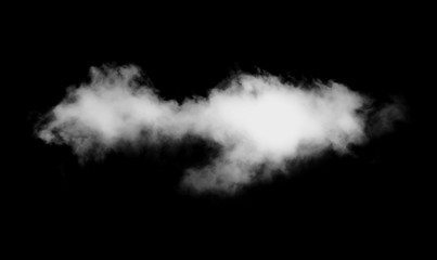 Cloud isolated on black background.