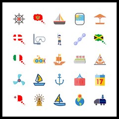 25 boat icon. Vector illustration boat set. submarine and anchor icons for boat works