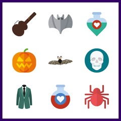 9 halloween icon. Vector illustration halloween set. spider and bat icons for halloween works