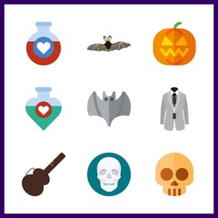 halloween icons set. humanity, teachers, symbol and pteropidae graphic works